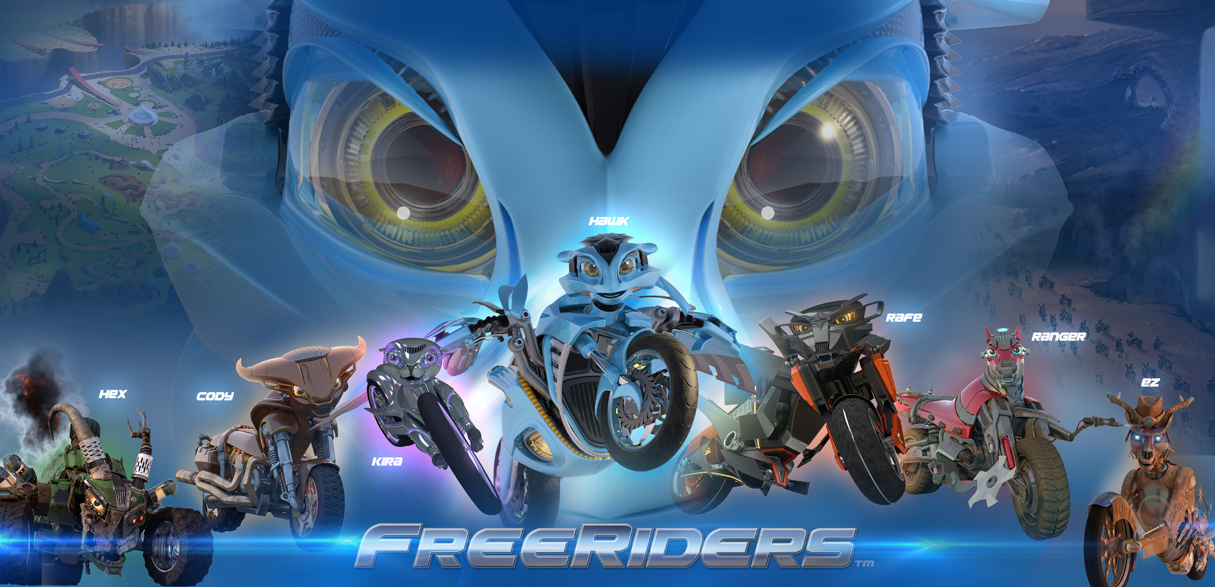 Freeriders motorcycle characters and motorcycle animation
